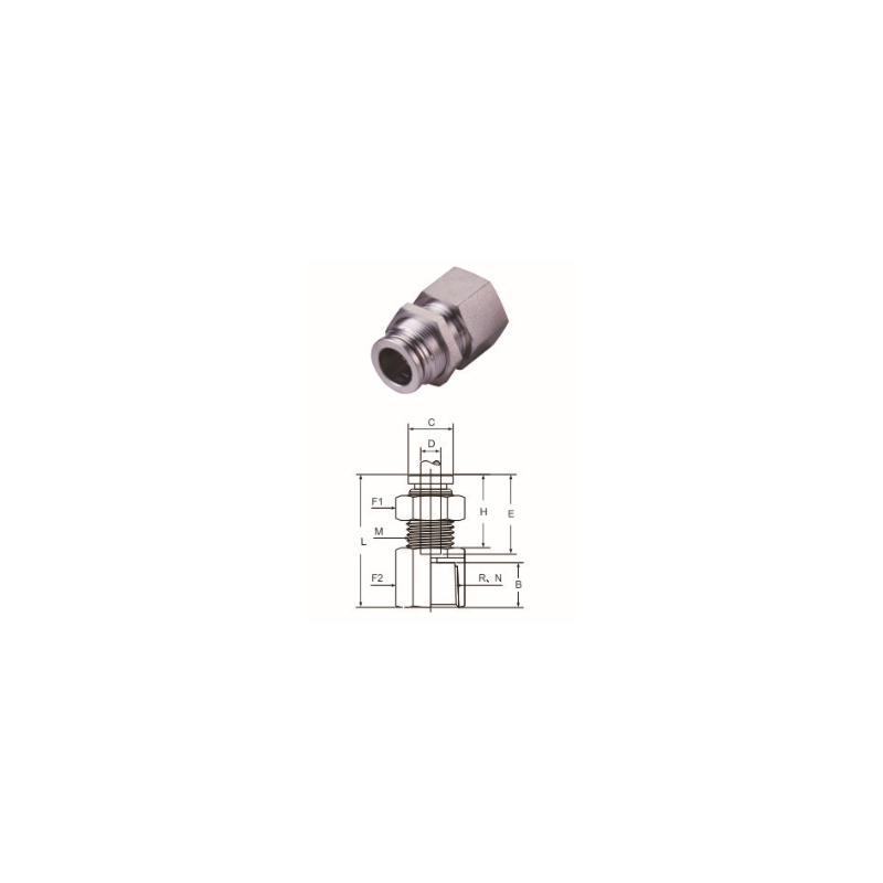 BCS Female Bulkhead Straight Connector(BSPT, NPT)